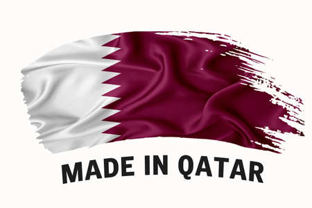 Made in Qatar handwritten vintage ribbon flag, brush stroke, typography lettering  label banner on white background.