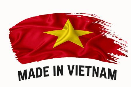 Made in Vietnam handwritten vintage ribbon flag, brush stroke, typography lettering   label banner on white background.