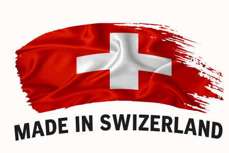 Made in Switzerland handwritten vintage ribbon flag, brush stroke, typography lettering label banner on white background.