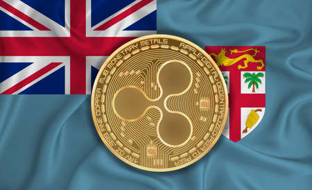 Fiji flag, ripple gold coin on flag background. The concept of blockchain, bitcoin, currency decentralization in the country. 3d-rendering
