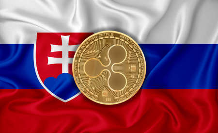 Slovakia flag, ripple gold coin on flag background. The concept of blockchain, bitcoin, currency decentralization in the country. 3d-rendering