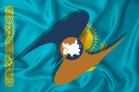 EAEU, Eurasian Economic Union. Economic cooperation between some countries in Europe and Asia. Against the background of the flag of Iran Banque d'images