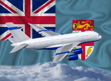 Fiji flag with white airplane and clouds. The concept of tourist international passenger transportation.