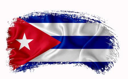 Cuba flag, brush stroke, typography, lettering, logo, label, banner on a white background.