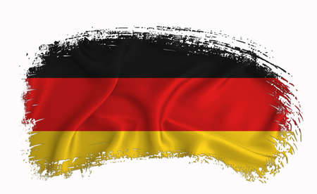 germany flag, brush stroke, typography, lettering, logo, label, banner on a white background.