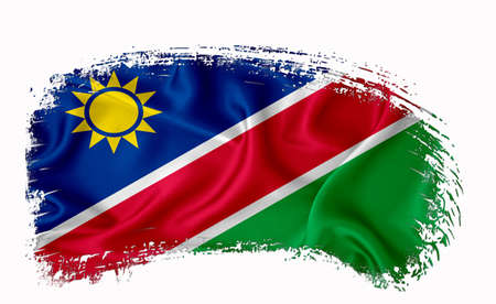Namibia flag, brush stroke, typography, lettering, logo, label, banner on a white background. Фото со стока