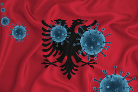 Angola flag. Blue viral cells, pandemic influenza virus epidemic infection, coronavirus, infection concept. 3d-rendering. Stock Photo