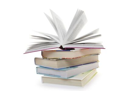 Pile from five books on a white background Stock Photo - 6831078
