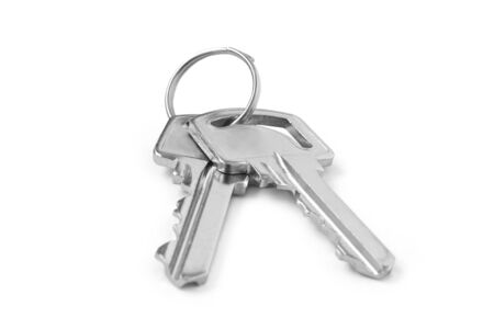 Bunch of two keys  on a white background Banque d'images