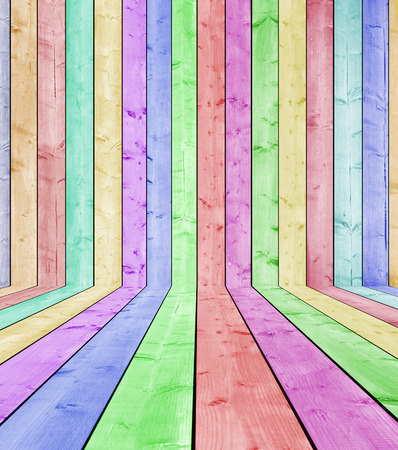 colored wood wall and wood floor interior photo