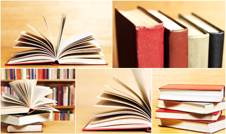 collage of pictures of books in the library  photo