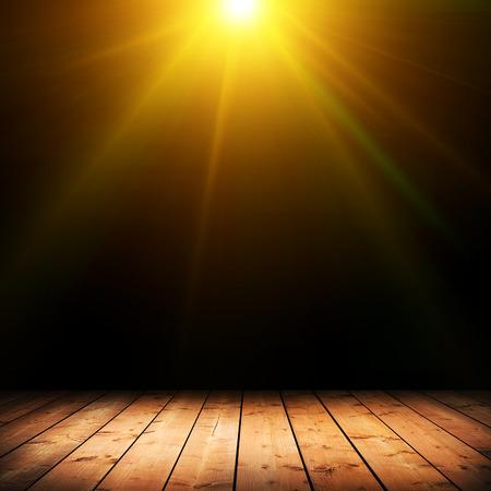 Light on wooden floor in empty room  photo