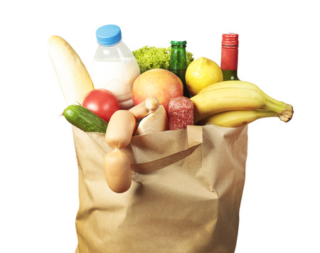 Paper bag with food and drinks inside Stock Photo