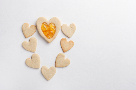 Pastries in shape of heart. St Valentines Day Stock Photo