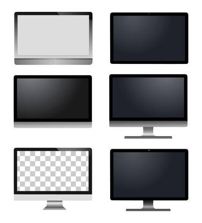 Computer portatile realistico di vettore, computer della compressa, monitor isolato
