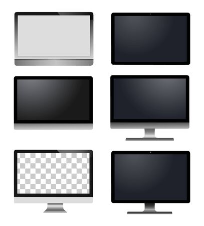 Realistic vector laptop, tablet computer, monitor isolated