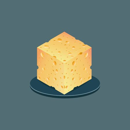 realistic piece of cheese. vector illustration isolated background. 向量圖像