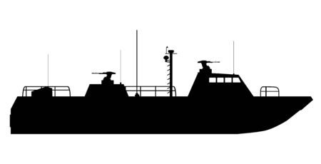 silhouette of warship, boat. vector illustration isolated background