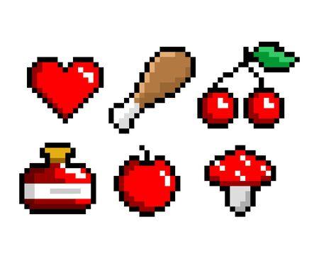 Conjunto de iconos de arte de píxeles de 8 bits. Carne, poción, corazón, cereza, hongo, activos del juego. Ilustración de vector aislado
