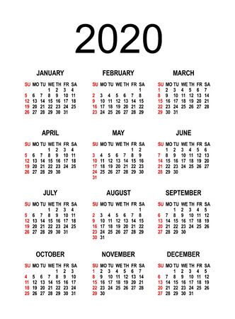 Calendar 2020 2021 - Vector Illustration. The week begins on Sunday. isolated background. template