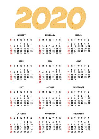 Calendar for 2020. Weeks start on Sunday.isolated on white background - vector template. Ilustrace