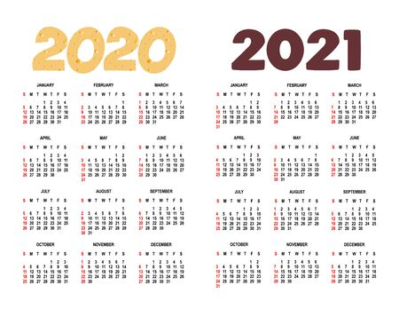 Calendar for 2020-2021. Weeks start on Sunday.isolated on white background - vector template