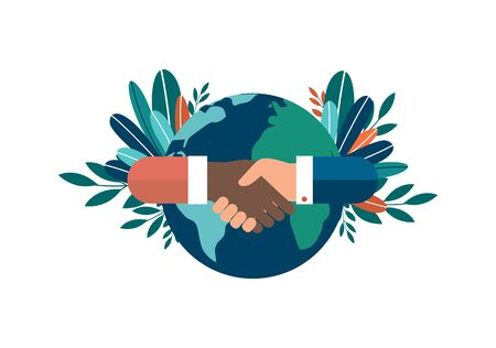 Vector illustration of hands of different nationalities, successful partnership and cooperation, contracting. Friendship all over the world. isolated white background.