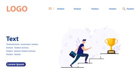 Vector illustration, people are running toward their goal on the stairs or pillars, moving to their dream. Motivation, the way to the goal. web banner, mobile web site. Landing page template