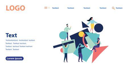 Ilustración de vector de personas planas. Un equipo de personas recopila rompecabezas geométricos abstractos. Diseño moderno de estilo plano para página web, folleto, cartel, sitio web móvil. Plantilla de página de destino.