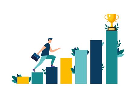 Vector illustration, people are running towards their goal on the stairs or columns, moving up to their dreams. Motivation, the path to achieving the goal. Illustration
