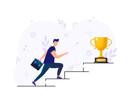 Vector illustration, people are running towards their goal on the stairs or columns, moving up to their dreams. Motivation, the path to achieving the goal. Illusztráció