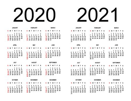 Calendar 2020 2021 - Vector Illustration. The week begins on Sunday. isolated background. template. Ilustrace