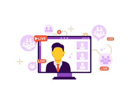 The concept of online broadcast, connecting viewers, online lesson, webinar training. Vector isolated background.