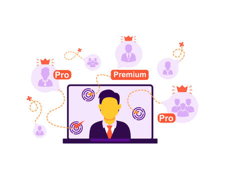 The concept of online broadcast, connecting viewers, online lesson, webinar training. Vector isolated background. Illusztráció