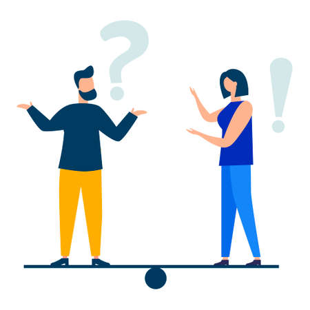 Vector illustration, conceptual illustration of frequently asked questions exclamation marks and question marks, answer to metaphor