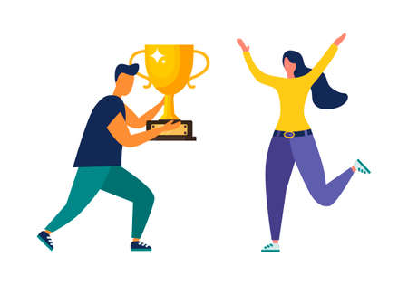 Vector illustration of people standing on the podium. The award ceremony, the prize for the best ball. The concept of teamwork. and achieving goals and rewards. Business results