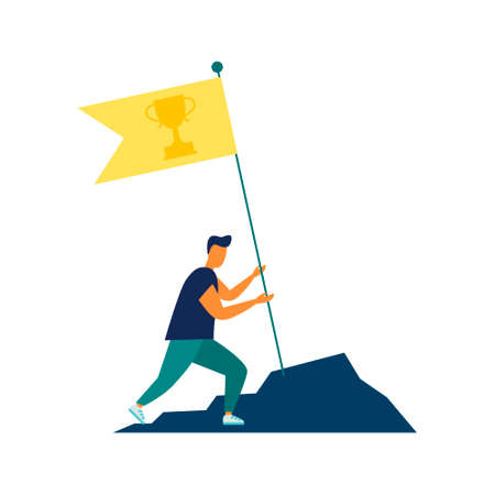 Vector illustration, goal achievement, hard work flag as a symbol of success and height. Achieving goals. For a landing page or site.