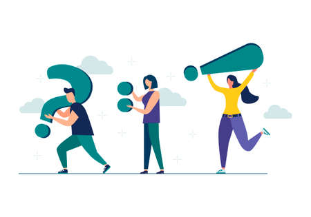 Vector illustration of people communicating in search of ideas, problem solving, use in web projects and applications. teamwork, brainstorming. Flat style isolated background Illustration