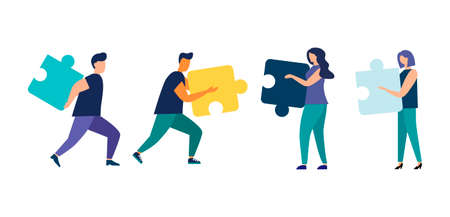 Business concept. People connect puzzle pieces. Team metaphor. Vector flat style symbol of teamwork, cooperation, partnership. isolated background Vettoriali