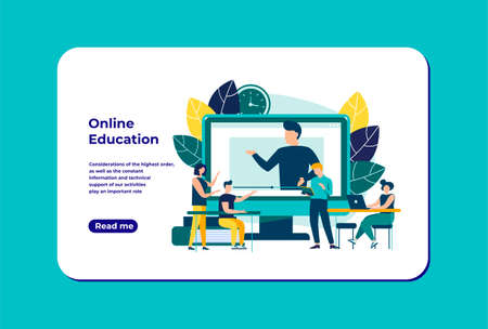 Educational webinar. Digital audience, Online class. The concept of modern education with a personal teacher. Vector illustration for landing page template.