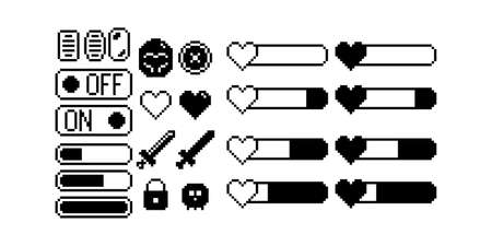Set of 8-bit pixel graphics icons. Isolated vector illustration. Game art. black and white image, game icons. weapons, dialogue bubbles