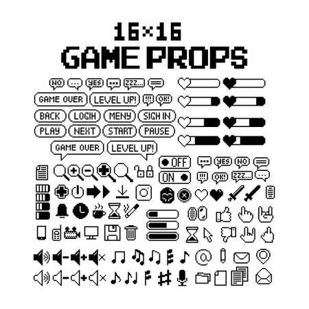 Set of 8-bit pixel graphics icons. Isolated vector illustration. Game art. black and white image, dialog bubbles, buttons, computer icons, music notes, music
