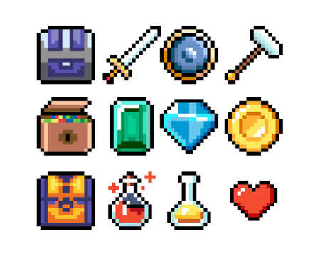Set of 8-bit pixel graphics icons. Isolated vector illustration. Game art. potions, weapons, valuables