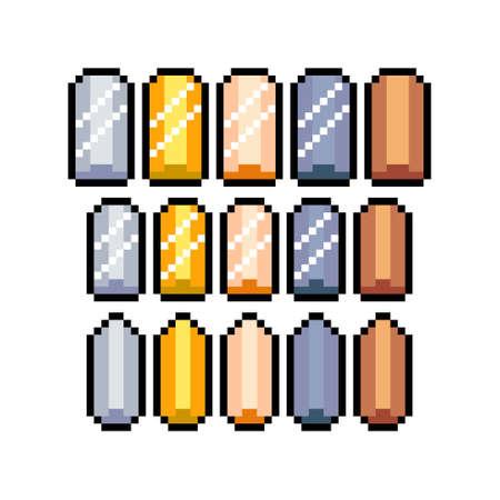 Set of 8-bit pixel graphics icons. Isolated vector illustration. Game art. precious ingots