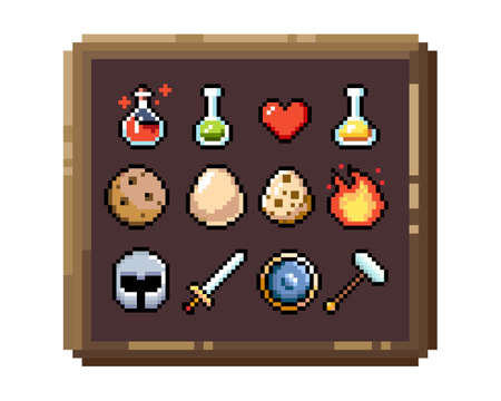 Set of 8-bit pixel graphics icons. Isolated vector illustration. Game art. Weapons, jewelry, potions,