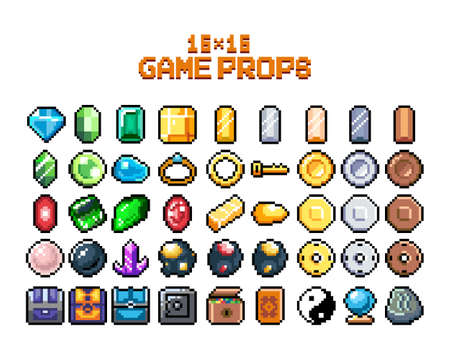 Set of 8-bit pixel graphics icons. Isolated vector illustration. Game art. jewelry, jewelry, chests, diamonds, gold