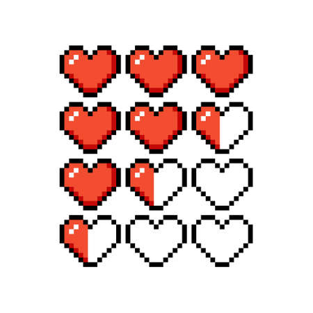 Set of 8-bit pixel graphics icons. Isolated vector illustration. Game art. heart