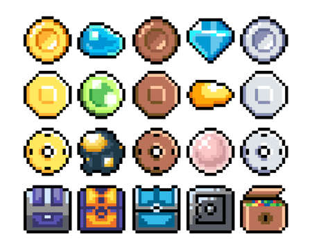 Set of 8-bit pixel graphics icons. Isolated vector illustration. Game art. chests, diamonds, gold, coins