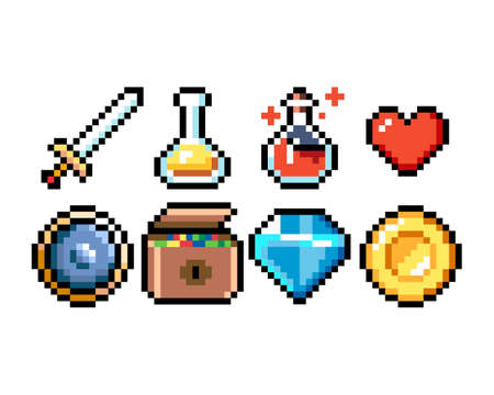 Set of 8-bit pixel graphics icons. Isolated vector illustration. Game art. Weapons, jewelry, potions, chests