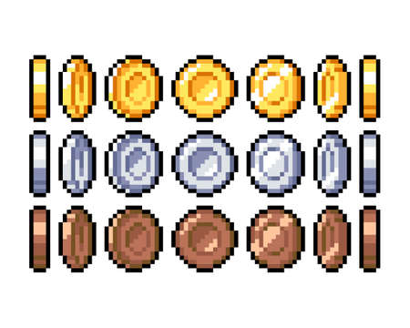 Set of 8-bit pixel graphics icons. Isolated vector illustration. Game art. Coins of gold, silver and bronze, for animation